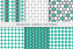 Collection of colorful seamless geometric patterns. Simple digital backgrounds Stock Photography