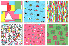Collection of colorful seamless memphis pattern. Fshion style 80-90s. Good for children design. Stock Photography