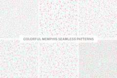 Collection of colorful seamless memphis patterns. Delicate design. Fashion style 80-90s Royalty Free Stock Photography
