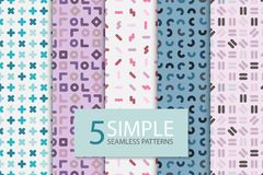 Collection of colorful seamless memphis patterns. Simple geometric backgrounds.  stock illustration