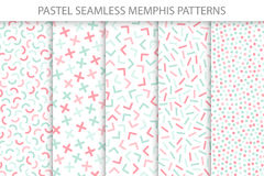 Collection of colorful seamless memphis patterns. Soft colors - delicate design. Collection of colorful seamless memphis patterns. Mosaic geometric shapes royalty free illustration