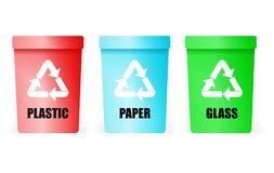 Collection of colorful separation recycle bin icon. Plastic, paper, glass vector recycle bin. Vector illustration Isolated on white Royalty Free Stock Images