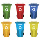 Collection of colorful separation recycle bin icon.Organic,batteries,metal,plastic,paper,glass,waste,light bulb,aluminium,food Stock Photo