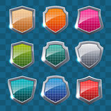 Collection of colorful shields on colorful background. Royalty Free Stock Images