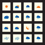 Collection of colorful sketch weather icons vector illustration Stock Photos