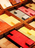 Collection of colorful soaps. Beauty and health concept, vintage style royalty free stock images