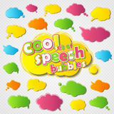 Collection colorful speech bubbles with colored outline stroke vector illustration