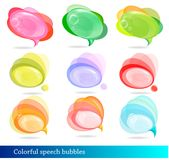 Collection of colorful speech and thought bubbles. Stock Images