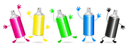Collection of colorful spray cans, Stock Photo