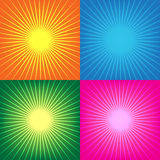 Collection of colorful sunburst abstract background vector illus Royalty Free Stock Image