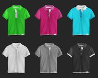 Collection of colorful t-shirts. On dark background royalty free stock image