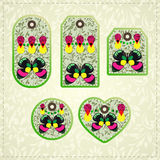 Collection of  colorful tags with ornate pattern and butterflies Royalty Free Stock Photos
