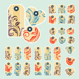 Collection of  colorful tags with ornate pattern with main beige Stock Image