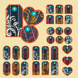 Collection of colorful tags with ornate pattern with main dark b Royalty Free Stock Photo