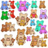 Collection of colorful teddy bears Stock Photography