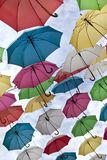 Umbrellas in the sky royalty free stock images