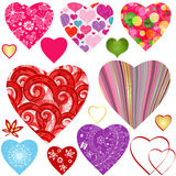 Collection colorful valentine hearts Royalty Free Stock Photos