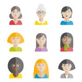 Collection of colorful vector flat women`s avatars. For web, print, mobile apps royalty free illustration
