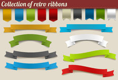 Collection of colorful vector retro ribbons royalty free illustration