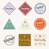 Collection of Colorful Vector Vintage Retro Label Set of 9. Colorful Vector Vintage Retro Label Set of 9 Stock Photos