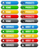 Home Products Services Buttons. Collection of 4 colorful web sites buttons (home, products, services, about us) in five different colors, isolated on white Royalty Free Stock Photos