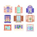 Flat vector set of colorful window frames. Flowers in pots on windowsills. House decoration elements. Building exterior. Collection of 9 colorful window frames stock illustration