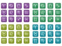 Collection of colorful zodiac icons (vector). Four types of zodiac pictrograms Royalty Free Stock Photos