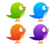 Collection of colour twitter birds. On white background Royalty Free Stock Image