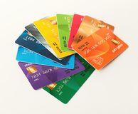 Collection of colourful credit cards isolated. On white background. Finance, well-being, modern payment systems, online shopping concept, top view Royalty Free Stock Photography