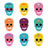 Day Of The Dead Skulls. Collection of Day of The Dead Skulls stock illustration