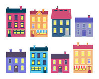 Collection of Colourful Xmas Buildings on White stock illustration