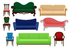 Collection of comfortable furniture set, vintage and modern chairs and sofas, elements for interior design vector vector illustration