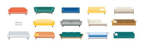Collection of comfy modern sofas isolated on white background. Bundle of stylish comfortable couches of various types stock illustration