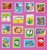 Collection of Comic Art Post Stamps Royalty Free Stock Image
