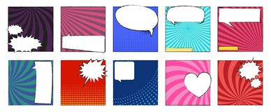 Collection of comic book scene template. Blank white dialog window, speech bubble template. Vector illustration. Classic comic sce