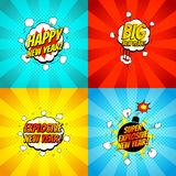 Collection of comic happy new year banners. Decorative set of backgrounds for happy new year with bomb explosive in pop art style. Vector illustration royalty free illustration