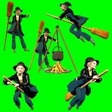 Collection of befana poses in comic style vector illustration