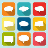 Collection of comic style white speech bubbles. Royalty Free Stock Photos