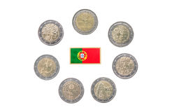 Collection of commemorative coins of Portugal Stock Photography