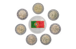 Collection of commemorative coins of Portugal Stock Photos