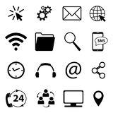 Collection of communication and business symbols. Contact, e-mail, mobile phone, message, wireless technology icons etc. Vector. Collection of communication and stock illustration