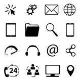 Collection of communication symbols. Contact, e-mail, mobile phone, message, wireless technology icons etc. Vector illustration. Collection of communication royalty free illustration