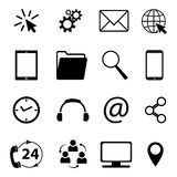 Collection of communication symbols. Contact, e-mail, mobile phone, message, wireless technology icons etc. Vector illustration. Collection of communication vector illustration