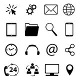 Collection of communication symbols. Contact, e-mail, mobile phone, message, wireless technology icons etc. Vector illustration. Collection of communication stock illustration