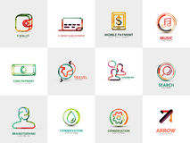 Collection of company logos, business concepts Royalty Free Stock Photo