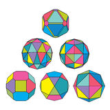 Collection of 6 complex dimensional spheres and abstract geometr. Ic figures with black outline. Colorful kaleidoscope facet. Fractal 3D symbolic globes Royalty Free Stock Photos