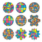 Collection of 9 complex dimensional spheres, abstract. Collection of 9 complex dimensional spheres and abstract geometric figures with black outline. Colorful Stock Photography
