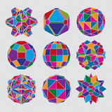 Collection of complex dimensional spheres and abstract geometric Royalty Free Stock Photography