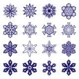 Collection complexe de flocons de neige Photographie stock