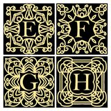 Collection of concepts for luxury monograms or logos. Emblem or frame. Set of design elements for the letters E, F, G, H. Golden i. Cons on a black background Stock Image
